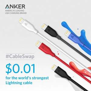 Anker 3ft PowerLine Lightning Cable  0.01 (Prime) £4 (non Prime) Starts April 2nd Anker Direct Via Amazon [See comment #1]