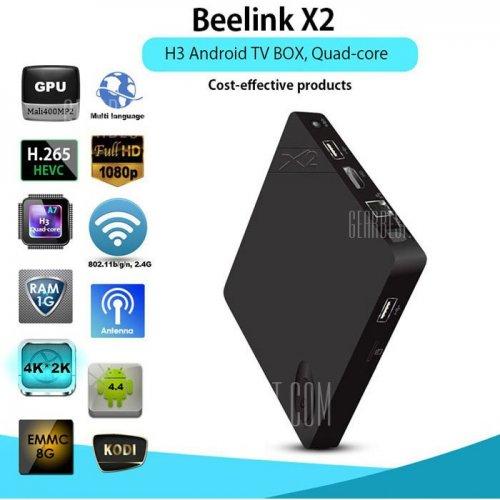 Beelink X2 TV Box 4K H.265 Decoding - 1GB DDR3 RAM -  EU PLUG  BLACK, £19.23, at GearBest