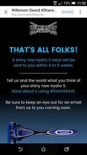 Free Hydro 5 razor blade