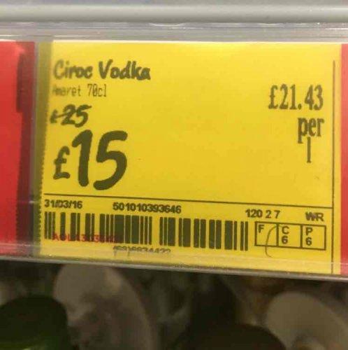 Ciroc Vodka 70cl £15 @ Asda in store