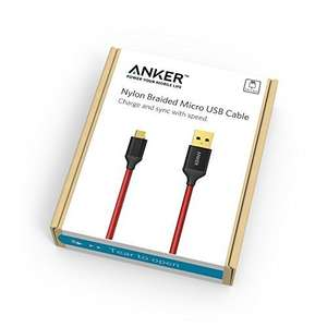 Anker 6ft / 1.8m Nylon Braided Tangle-Free Micro USB Cable with Gold-Plated Connectors - £5.21 prime / £9.20 non prime @ amazon via ankerdirect