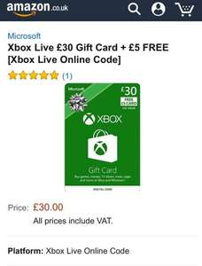 Xbox live £30.00 gift card plus £5.00 free @ Amazon