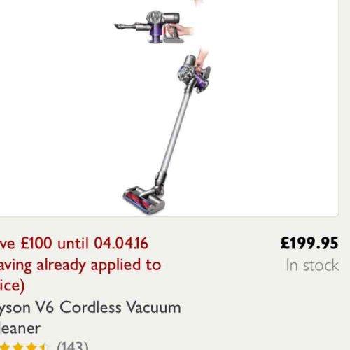 Dyson V6 handheld cordless vac £199.95 @ John Lewis