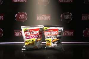 Burtons fish n chips new brown and red sauce flavours 5 pack 99p in b&m bargains