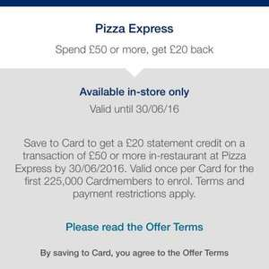 Amex £20 statement credit when you Spend £50 at Pizza Express