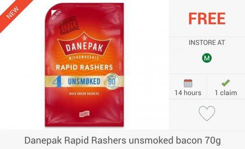 FREEBIE... 3 x Danepak Rapid Rashers Unsmoked Bacon (70g) via Checkoutsmart, Clicksnap & Topcashback Apps - £1 @ Morrisons; £1.70 Coop & Ocado.com...