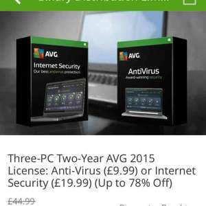 Avg antivirus 2016 two year subscription £9.99 @ Groupon / Download Buyer