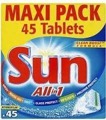 Sun All in One Dishwasher Tablets Supervalu N/Ireland 45 for £3.79