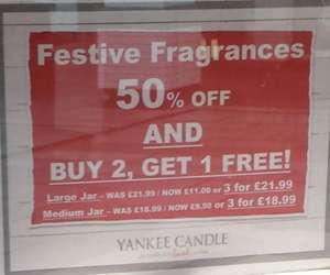Yankee Christmas Candles 50% and then 3 for 2 at Yankee Outlet Cheshire Oaks