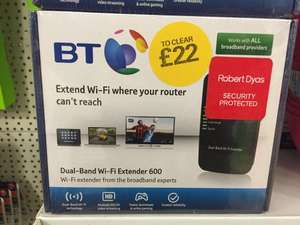 BT Dual Band WIFI Extender 600 down to £22 @ Robert Dyas in Sutton