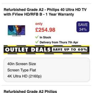 "£20 off £150 spend @ Appliances Direct with £1 trial of Which? - Refurbished Grade A2 - Philips 40"" Ultra HD TV With FView HD/RFB B - 1 Year  warranty £235.98"