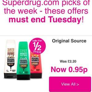 Original Source Shower Gel was £2.28 now 95p at Superdrug