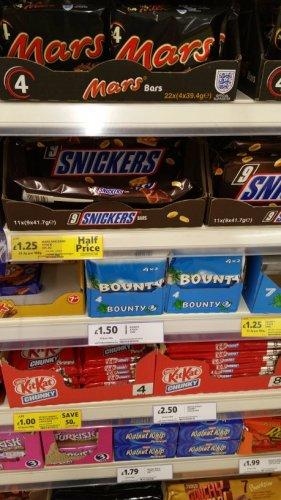 Twix x 7, Bounty x 7. Ripple x 7 & Snickers x 9 all half price was £2.50 now £1.25  @ Tesco