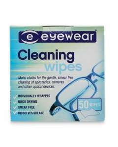 Glasses/Spectacle and Screen Wipes (box of 50) @ Aldi