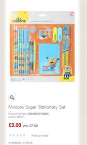 Minions super stationary set was £7 now £2 from M&Co, free delivery to store
