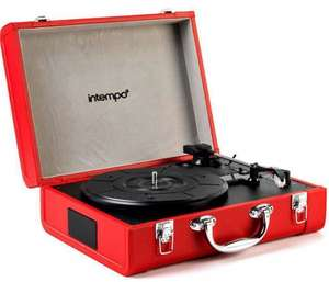 For The Record  -  Intempo Retro Portable Bluetooth Compatible Turntable Record Player. Play 33, 45 and 78 RPM. Built in Rechargeable Battery. (Black) or (Red) - Were £79.99 - Now  Half Price  £39.99 Instore @ B& M Stores