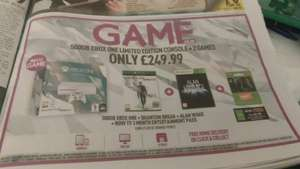 500GB XBOX ONE LIMITED EDITION + QUANTUM BREAK + ALAN WAKE + NOW TV 3 MONTH ENTERTAINMENT PASS £249.99 GAME
