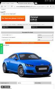 Audi TT £330 deposit and £330 a month for 2 year lease and 15000 miles £8250 @ Carleasing online