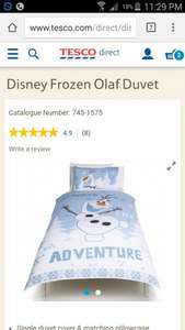 Disney Frozen Olaf Duvet (Single) down from £18 to £6 free del over £30 or £2 C+C plus £5 off over £20 on Home read post @ Tesco