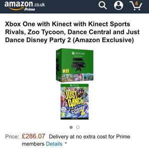 Xbox One w/ Kinect, Sports Rivals, Zoo Tycoon, Dance Central and Just Dance Disney 2 £286.07 Amazon