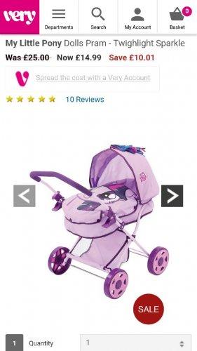 My little pony dolls pram £14.99 from very (free c&c)