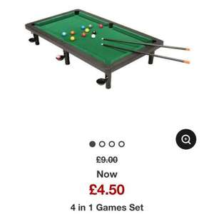 4 in 1 table top game set - snooker, basketball, bowling & shooting. £4.50 @ Asda