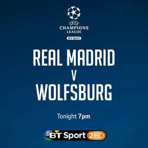 BT Sport Showcase: Watch Real Madrid vs. Wolfsburg - Free