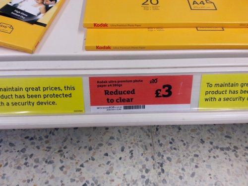 Kodak Ultra Premium photo paper 20 sheets A4 £3 @ Sainsbury's instore