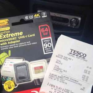 SanDisk Extreme microSDXC UHS-1 Card with adapter 64gb £22 @ Tesco instore