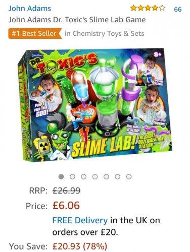 John Adams Dr. Toxic's Slime Lab £6.06 prime / £10.81 non prime @ Amazon