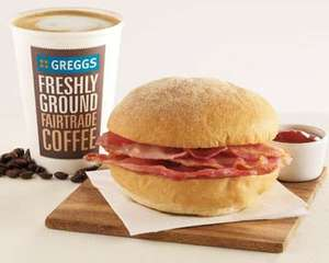 Free Greggs Breakfast Roll or Baguette + Hot Drink (or anything up to £3)