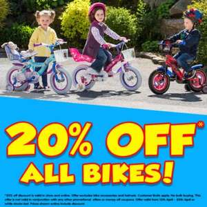 20% off all bikes at Smyths Toys