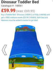 Dinosaur or Polly toddler bed £59.99 delivered with *FREE* mattress worth £29.99 at Smyths
