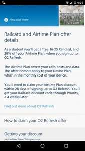 o2 refresh 20% off airtime and free railcard with student ID