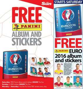 Free Panini EURO 2016 Sticker Album with the Sun on Saturday 16th April