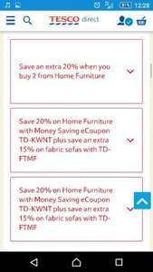 Tesco Direct 20% Off Home Furniture with further 20% and 15% Off