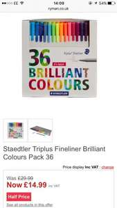 Staedtler Triplus Fineliner Brilliant Colours Pack 36 £14.99 @ Ryman