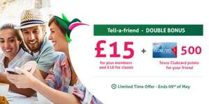 topcashback double tell-a-friend + 500 tesco clubcard points via Tesco