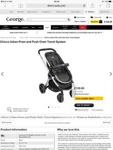 Chicco urban pram and pushchair travel system - £65 @ Asda