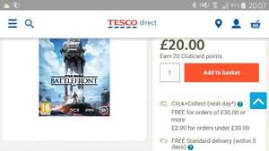 Star Wars Battlefront Xbox One/PS4 £20 @ Tesco (plus £2 C&C)