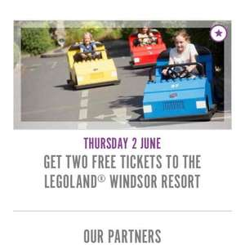 Sun Perks 2 free Legoland tickets