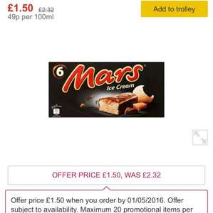 Mars / Snickers Ice Cream 6 Packs available £1.50 at Morrisons instore and online