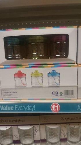 3pk glass jars with lids and spoons £1 poundland