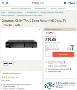 Goodmans 320gb smart freesat HD recorder was £99 now £59 from tesco direct