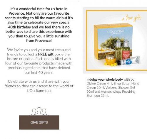L'Occitane - Free 4 item gift box - No purchase necessary