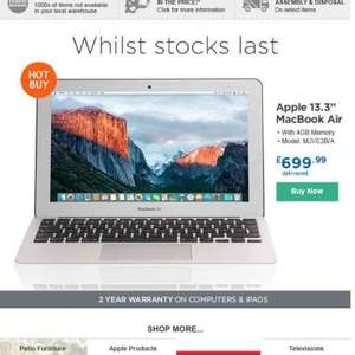 "MacBook Air 13.3"" 4GB RAM 128GB SSD £699.99 @ Costco"