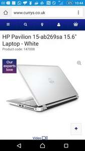 """HPPavilion 15-ab269sa 15.6"""" Laptop - white, blue, red(Product code: 147008for white) reduced at Currys/PCWORLD from £499 to £349.99 = £150 saving"""