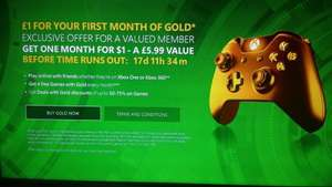 £1 for 1-Month XBOX LIVE GOLD MEMBERSHIP @ Xbox.com