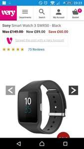 Sony Smart Watch 3 SWR50 - Black (£62.99 after code 6TFEF on credit) £89 @ Very