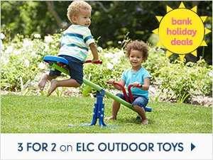 Double Discount - 3 for 2 on Outdoor Sports and Garden Toys + Some have upto 30% Off too at Mothercare - Deal Back On!